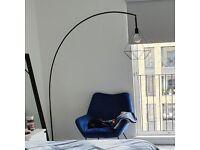 Ikea black floor lamp plus 2 light shades