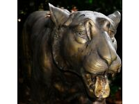 LIFE SIZE BRASS TIGER ANIMAL STATUE GARDEN ORNAMENT SCULPTURE WAS OVER £3000 SL5