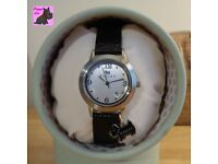 Radley RY2007 Ladies 'Darlington' Black Leather Strap Watch with Scottie Charm - NEW - RRP: £85