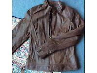 All Saints Style Womens Brown NZ Lamb Leather Biker Jacket, UK 10, Buttersoft £325