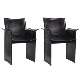A Pair of Mid Century Modern Designer Black Leather Korium Chairs by Tito Agnoli for Matteo Grassi