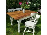 Solid pine farmhouse style table and chairs