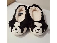 Brand New Black & White Panda Slippers