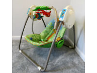 FISHER PRICE MUSICAL BABY SWING CHAIR ROCKER RAINFOREST FRIENDS NEW CONDITION