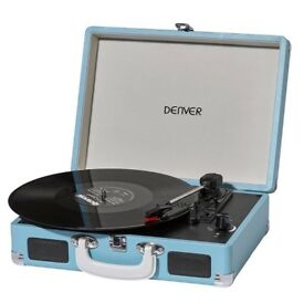 Denver VPL 120 portable turntable, in light blue colour, with PC Recordind and 3 speed
