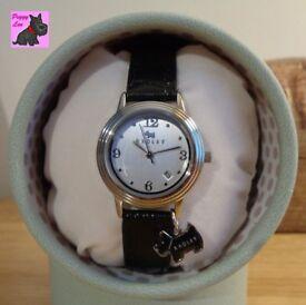 Radley RY2007 Ladies 'Darlington' Black Leather Strap Watch with Scottie Charm - NEW - RRP: £85