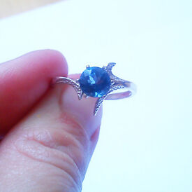 Sterling Silver Ring with Blue Topaz size 6 (USA)