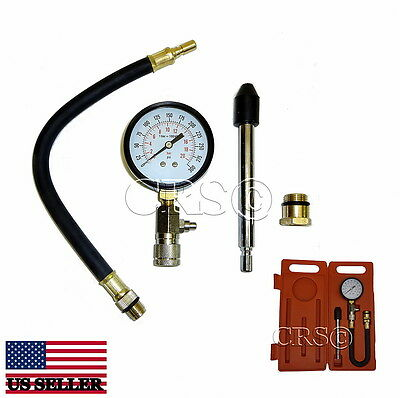 FLEX ENGINE COMPRESSION TESTER GAUGE KIT SET TOOL MOTORCYCLE LAWNMOWER CAR TRUCK