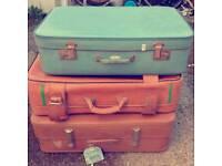 3 x Retro vintage leather suitcases