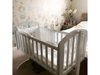 OBaby White Swinging Crib EXCON