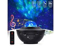 LED 2 in 1 Music Bluetooth Speaker + Starry & Ocean Waves Projector NIght Lamp