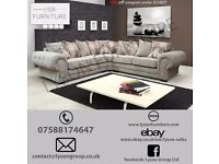VERONA Large Corner Sofa Fabric Silver Light Grey New Design, LEICESTERSHIRE FREE DELIVERY