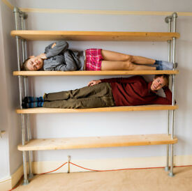 Stylish & Strong Shelves, Steel scaffolding tubes and solid chunky pine shelves