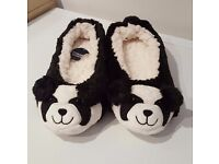 Brand New Black & White Panda Slippers (UK Size 6)