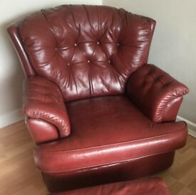 Real Red Leather Arm Chair & Pouffe - Not Bonded Leather