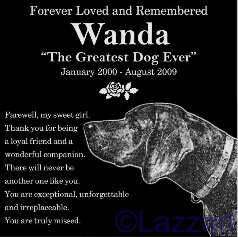 Personalized German Shorthaired Pointer Pet Memorial 12x12 Granite Grave Marker