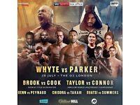 Dillian Whyte vs J Parker @ O2 LOWER TIER ROW C Tickets