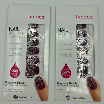 Lot of 2 INCOCO Nail Polish Applique in Burgundy Beauty
