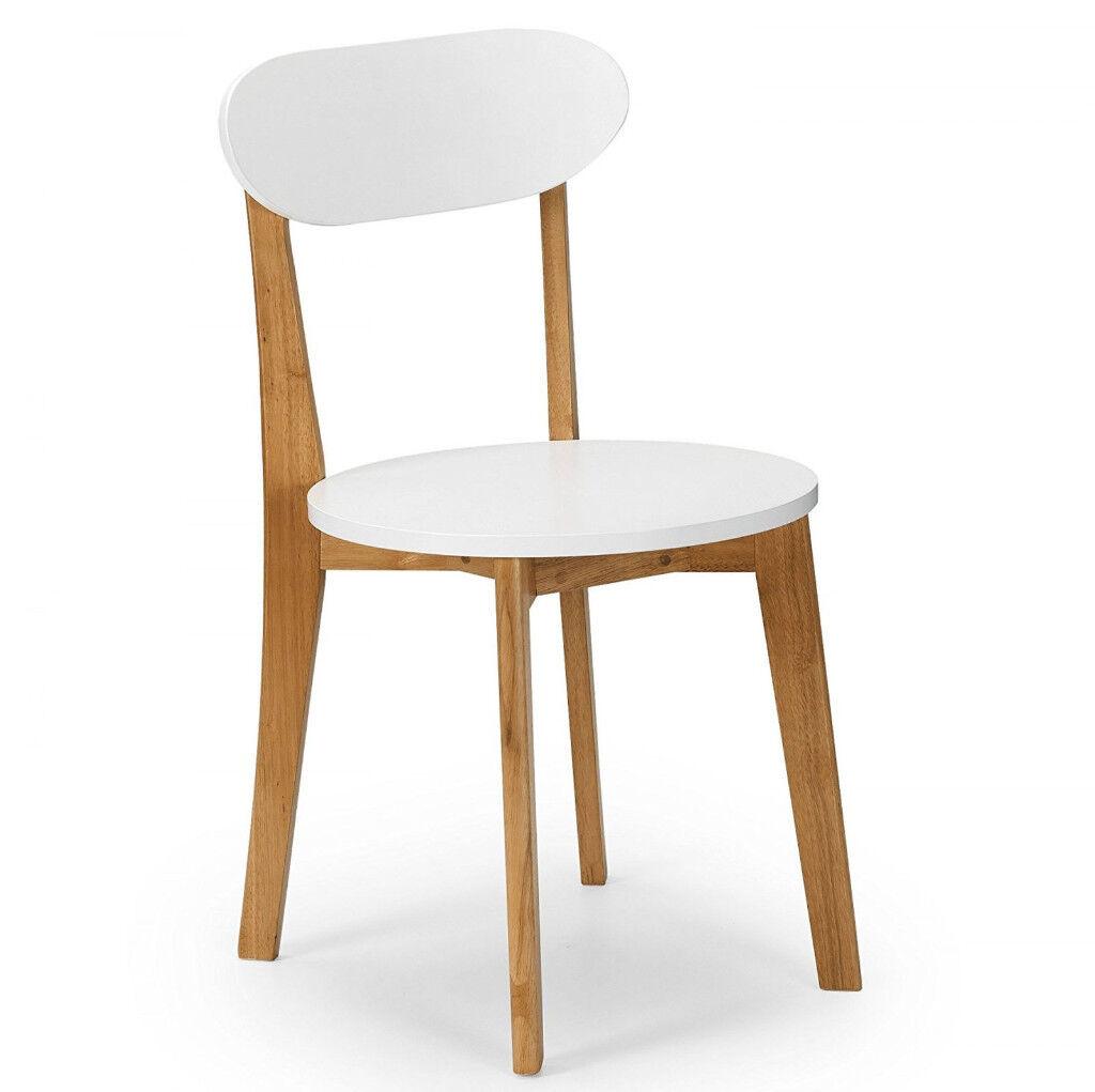 Julian Bowen Tiffany Dining chairs, 2 Chairs White/Oak