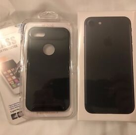 iPhone 7 Matt Black 128gb Unlocked BRAND NEW UNBOXED + Phone case & Glass screen protector