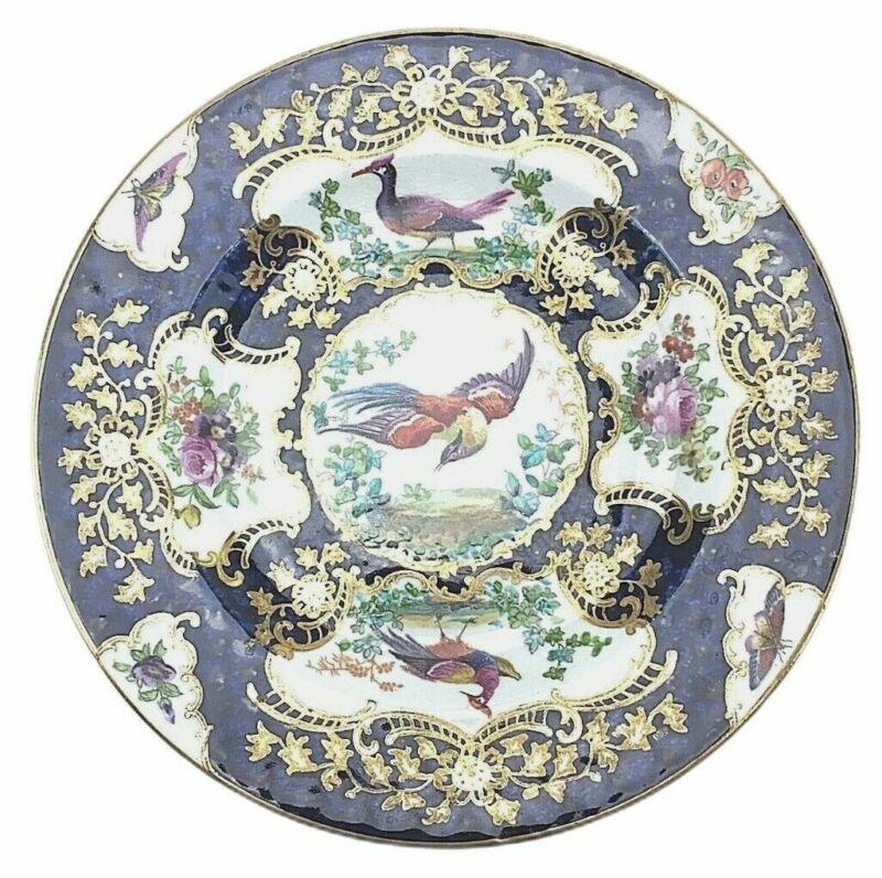 Antique Booths England Chelsea Birds Dessert Plate Porcelain Floral Cobalt Blue