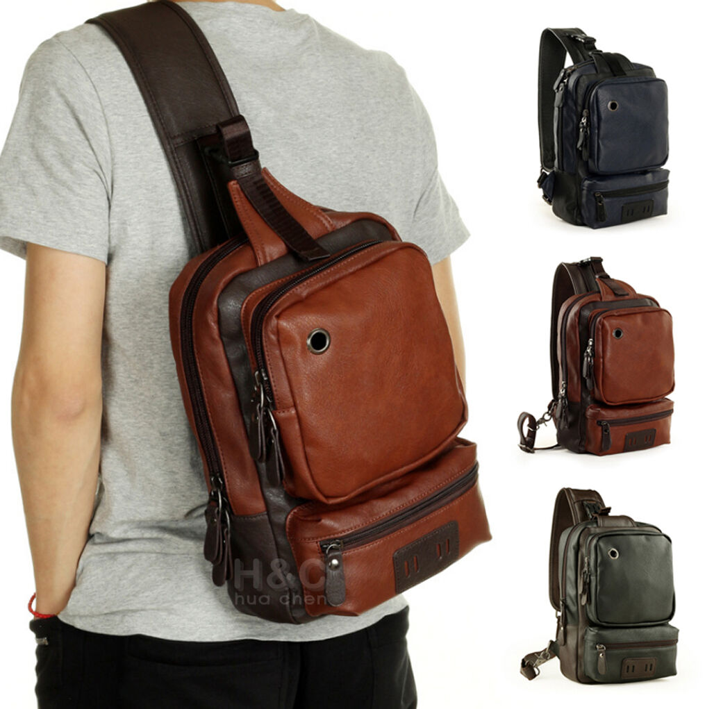Men's Skilful Sling Chest Shoulder PU Leather Backpack Satchel Bag Day Packs