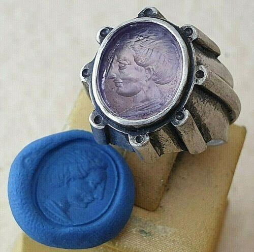 Intaglio Ring natural Ametist Ancient Silver 925 Vintage-Antique ROMAN