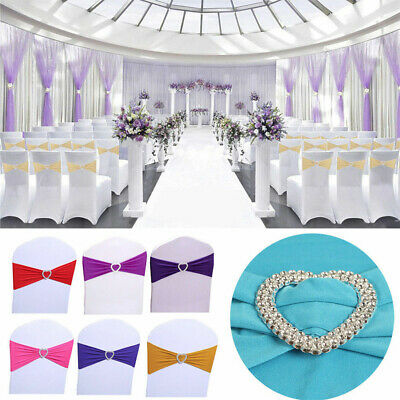 50/100 Pcs Spandex Stretch Chair Cover Sash Bow Wedding w/ Buckle Slider Sashes ()