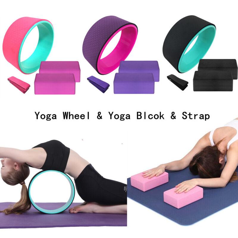 "13"" Pro Yoga Wheel Set Backbend Stretching Back Roller Ring Circle Block Fitness"