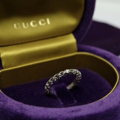GUCCI Diamantissima Diamond Band Ring in 18K White Gold Size 15 US 7 1/4  7.25