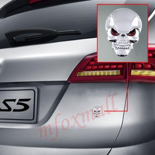 Car Accessories 3D Emblem Badge Decal Sticker Mirror CrossBones Skull Head Trim