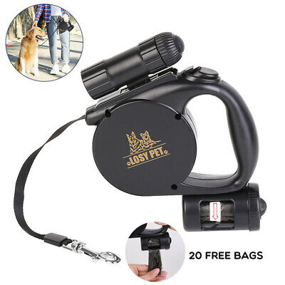 15ft Retractable Dog Leash Set W/ Light For Dogs And Puppies Up To 44 Pounds US ()