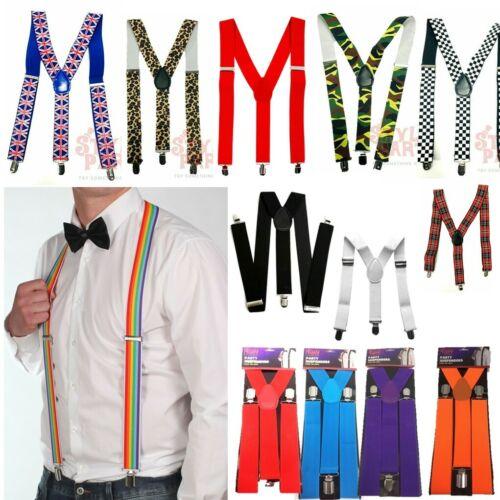 Wide Adjustable Braces Suspenders Elastic Plain Colours Classic Gents Ladies Uk
