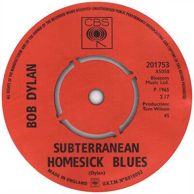 Bob Dylan. Subterranean Homesick blues record label vinyl sticker
