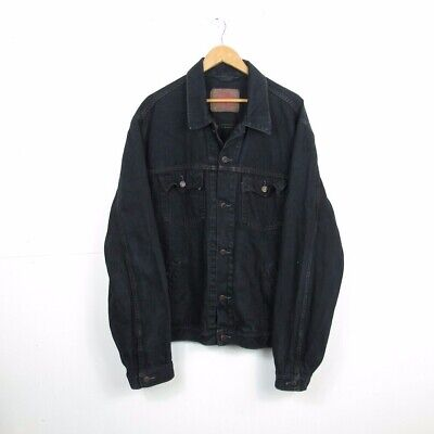 Vintage Levi's Mens Denim Jacket Dark Dyed Blue Trucker Size XXL