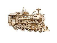 Wooden Train Model Kit Working Spring Drive Laser Cut Toy LK701 Locomotive Rail