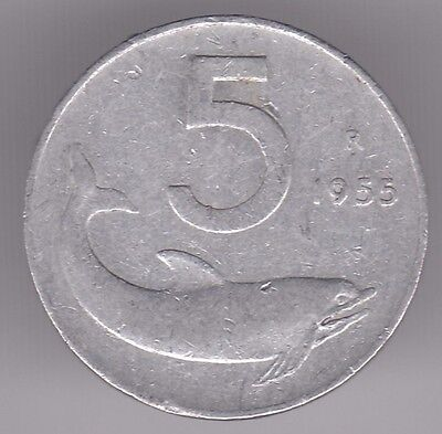Italy 5 Lire 1955 Aluminum Coin - Rudder and Dolphin
