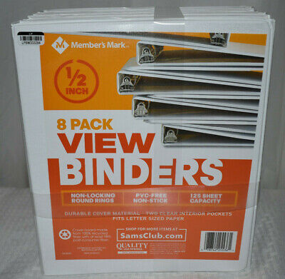 3 Ring View Binders 8 Pack 12 Inch 125 Sheet Presentation Bq