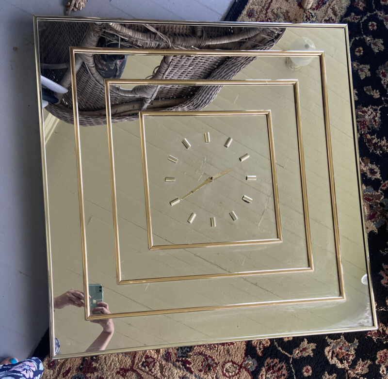 Vintage Bassett Mirror Company Large Mirror Clock With Gold Accents Works 30x30