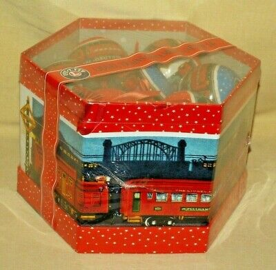 LIONEL TRAIN ORNAMENT SET 14 NEW BLUE ORANGE BOWS OCTAGON BOX 9-21011 CHRISTMAS.