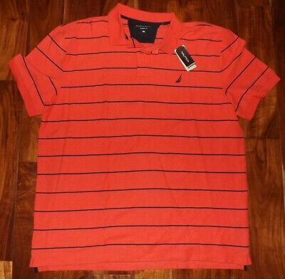 NWT Mens NAUTICA Coral Blue Striped Short Sleeve Polo Shirt Size L Large