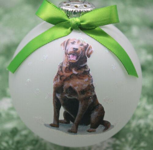 D090 Hand-made Christmas Ornament dog - Chesapeake Bay Retriever - smile sitting