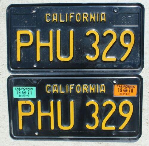 California Black & Yellow License Plates Pair of 1963 CA Vintage Original