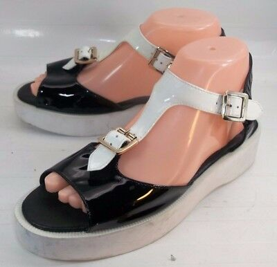 Used, F-Troupe Wos Platforms Sandals EU38 US 8 Black White Patent Leather 1010 for sale  New Haven