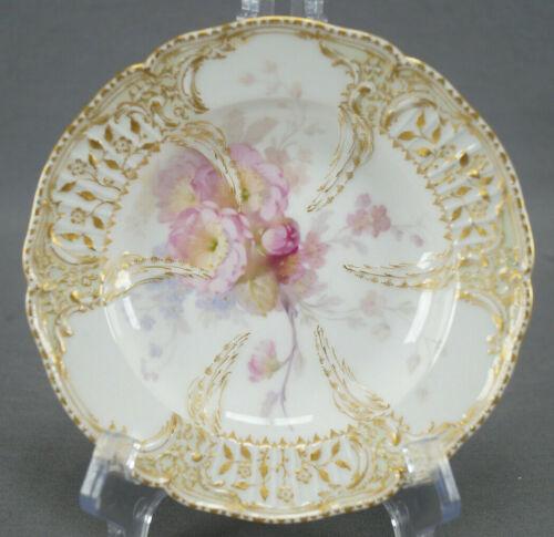 KPM Berlin Hand Painted Weichmalerei Pink Flowers & Gold Dessert Bowl