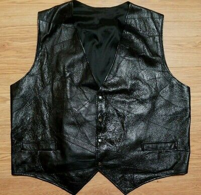 MEN'S REAL GENUINE LEATHER VEST, WAISTCOAT GILET BLACK SIZE 3XL OR 4XL for sale  Shipping to Nigeria