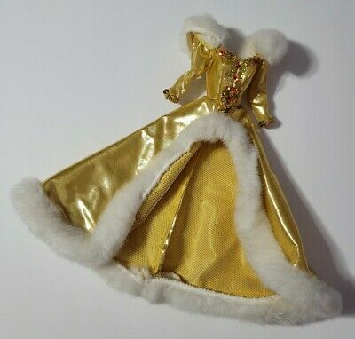 BARBIE DOLL CLOTHES GOLD METALLIC RED SEQUIN WHITE FUR HOLIDAY GOWN DRESS STYLE