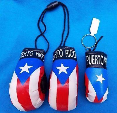 LOT PUERTO RICO FLAG HANGING MINI BOXING GLOVES & MINI BOXING KEY CHAN RICAN
