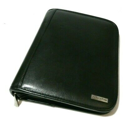 Franklin Covey Classic Midtown Leather Zipper Binder Black 7 Rings 32120