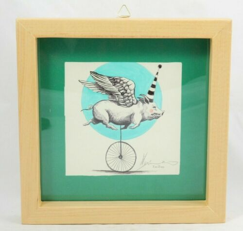 Mexican Acrylic Fine Art Painting Signed Décor Framed Hermes Diaz When Pigs Fly